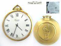 vintage men's Pocket Watch RAKETA SAMSON 2209 GoldPlated AU20 Soviet Russia USSR