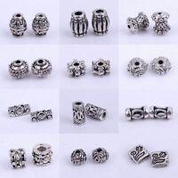 50/100pcs Tibetan Silver Tube Loose Spacer Beads Jewelry Making DIY