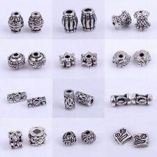 Wholesale 50/100pc Tibetan Silver Tube Loose Spacer Beads Jewelry Makings DIY