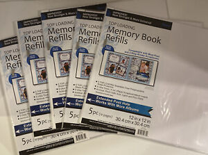 "Lot of 5 Top Loading Memory Book Refill Pages 12""x12"" 5 pieces each(10 pages)"