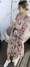 H&M Conscious Chiffon Long Wide Dress Powder Pink / Floral Size L BNWT Sold Out