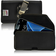 Turtleback Galaxy S7 Leather Black Pouch Holster Phone Case Metal Belt Clip