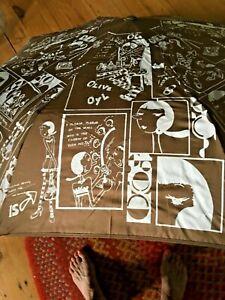 Brown Umbrella, UNIZONT AUTO Open/close NIB Graphics of Olive Oyl