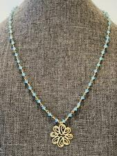 """Turquoise Blue Chalcedony 18"""" Necklace New"""