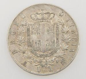 Italia 5 lire 1869 Vittorio Emanuele II silver coin exc++++ SPL- M079