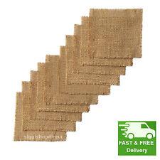 20x Squares (10x10cm) Bundle Jute Hessian Burlap Fabric Offcuts Scraps Remnants