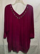 Lane Bryant Womens Purple Size 18 20 Blouse Rhinestone Neck B9*B