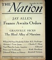 Vtg Original THE NATION Magazine Sept 28, 1940 Franco Awaits Orders  m1322