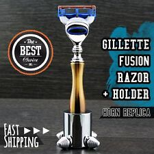New Horn Handle Gillette Fusion Replaceable Head Razor for Men's + Steel Stand