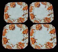 4 GABRIELLE SPRING BLUE Jacobean 222 Fifth Square Scalloped DINNER Plates NIB