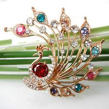 Navachi Peacock Peahen Peafowl Red Zircon 18K GP Crystal Brooch Pin BH7927R