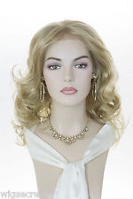 Quality Mid Length Wavy Curly Layered Lace Front Blonde Red Brunette Wig Wigs