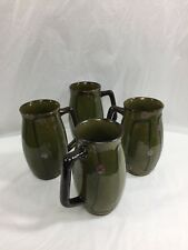 4 Vintage Otagiri Style Green Brown Tall Jumbo Barrel Shape Coffee Cup Mugs Set