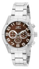 Invicta Specialty 15369 Men's Round Brown Chronograph Analog Silver Tone Watch