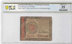 FR. CC-99 JAN .14 1779 $60 AMERICAN REVOLUTION / CONTINENTAL CURRENCY CH VF 35
