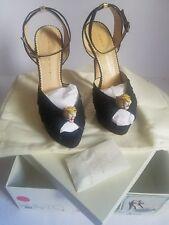 Charlotte Olympia platform's Bruce Enamel Leopard Black Sandals sizes 40,39
