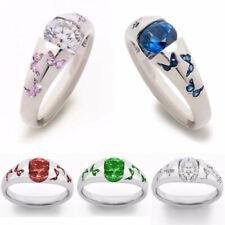 5 Colors Butterfly Women 925 Silver Rings Cubic Zircon Wedding Rings Size 6-10