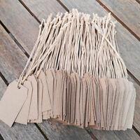 100 x Hängeetiketten 35x60mm Etiketten Schnur Brauner Karton Preisschilder