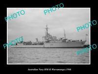 OLD POSTCARD SIZE AUSTRALIAN NAVY PHOTO OF THE HMAS WARRAMUNGA SHIP c1946