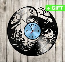 Nightmare Before Christmas Vinyl Record Clock Jack and Sally Decal Poster