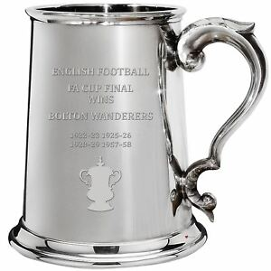 Bolton Wanderers English FA Cup Winner 1pt Pewter Tankard Gift