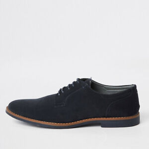River Island Mens Navy Faux Suede Lace-Up Derby Shoes