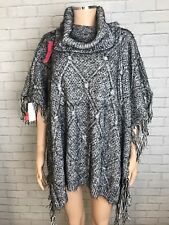 so Fabulous Fringe Cowl Neck Poncho in Black / Grey Size 14 / 16