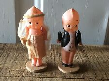 Vintage Japan Celluloid Wedding Cake Toppers Groom & Bride, Moveable Arms ,