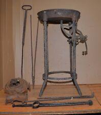 Antique portable blacksmith forge C & O blower knife maker farrier tool lot