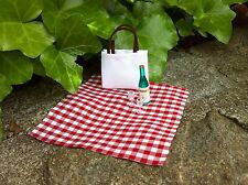 "Dollhouse Miniature Picnic Set Tote Bag Blanket Wine Glasses 1"" scale 1:12 Fairy"