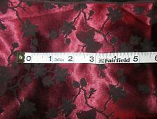 BEAUTIFUL  RED  SATIN FABRIC WITH BLACK FLOWERS AND BUTTERFLIES~ 1 YARD