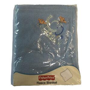 Fisher Price Jungle Friend Blue Fleece Baby Blanket NEW Crib Elephant Birds 2005