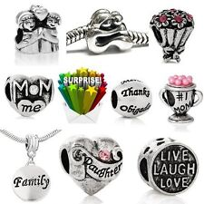 10 Mothers Day Bulk Charm Beads for Snake Chain Charm Bracelets
