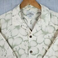 TOMMY BAHAMA Large 100% Silk Button Front Hawaiian Shirt Green Hibiscus Size L