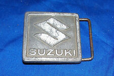 Vintage Suzuki Motorcycle Brass Belt Buckle Old Advertising Company Collectible