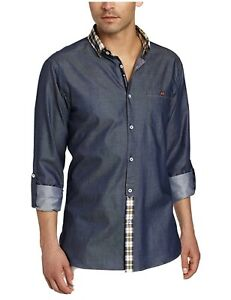 Stone Rose Men's 5  Navy button down woven shirt with yellow plaid collar #749