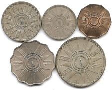 Iraq Lot of 5 1959 Coins 1 Fils, 10 Fils & Silver 25, 50, 100 Fils