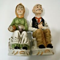 Old People Statue Figurines Women & Man Sitting on Benches Eating and Smoking