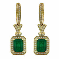 5.00 TCW Green Emerald & Diamond 14k Yellow Gold Finish Drop Dangle Earrings