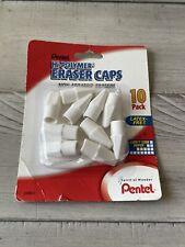 Pentel Hi Polymer Non Abrasive Latex Free Eraser Caps White Pack Of 10