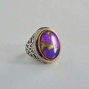 Turkish Handmade 925 Sterling Silver Purple Turquoise Men's Ring All Sizes P732