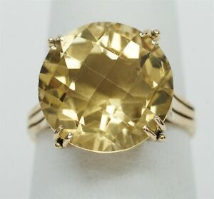 Vintage 14K Yellow Gold approx 9.67ct Checkered Solitaire Citrine Ring