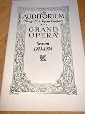 January 5,1924 Chicago Civic Opera Company - Grand Opera 47 Page Program