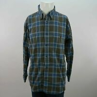 Mens Orvis Blue Brown Striped Large 100% Cotton Long Sleeve Button Up Shirt