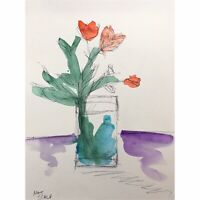 Matt Scalf Floral Flowers Vase Expressionism ORIGINAL PAINTING Watercolor 9x12
