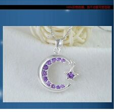 "18"" Chain Sterling silver pendant star and moon with zircon amethyst gift box A7"
