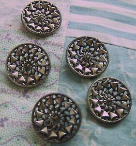 Antique Metal Buttons 5 Matching Cut Steel Open Cut Shank Rare Beauties