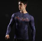 Hombre Marvel Compresión Camiseta manga larga jersey Capa Base Deporte Ciclismo
