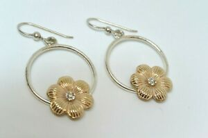 Brighton PETAL PUSHER French Wire Gold Flower & Crystal Earrings