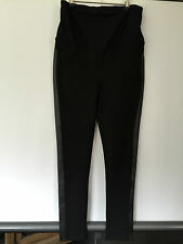 FABULOUS JEANS WEST BLACK MATERNITY PANTS FAUX LEATHER PANEL SKINNY SIZE M NEW